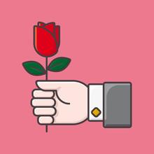 Giving A Rose Flower On Valent...