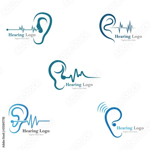 Photo hearing logo and symbol template vector icon