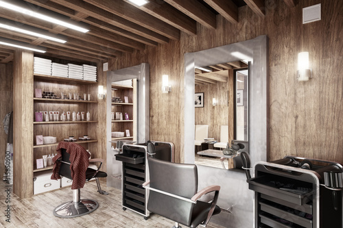 Barbershop Design (desaturated) - 3d visualization
