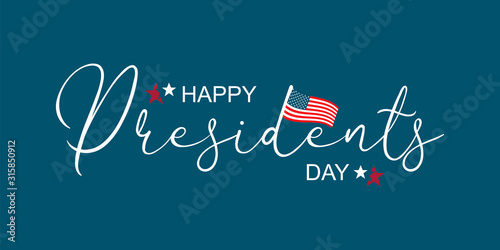 Happy Presidents Day greeting card, sale flyer, banner, poster with american flag with stars and ribbon. Presidents day holiday in USA. Patriotic calligraphy on blue background. Vector illustration