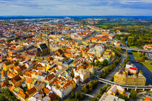 Aerial Landscape Of Czech Town Of Pilsen With Old Historical Houses In Fall Day