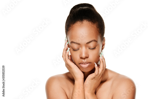 Obraz African American Woman Face, Hands, Beauty and Skin Care model - fototapety do salonu