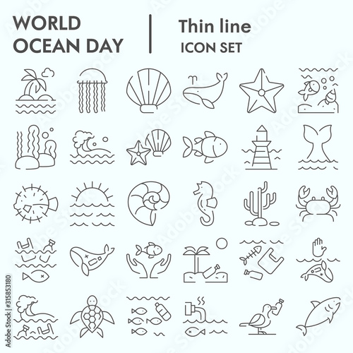 Fototapeta World ocean day thin line icon set, water world collection, vector sketches, logo illustrations, computer web signs linear pictograms package isolated on white background, eps 10. obraz