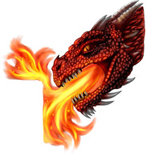 Red Dragon Head Breathing Fire...