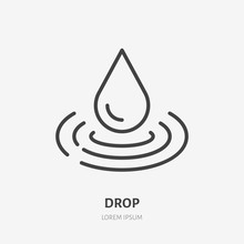 Water Drop Line Icon, Vector P...