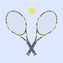 Two Beautiful Rackets Decorated With A Cute Pattern And A Tennis Ball On A Light Blue Background. Equipment For Tennis On The Court.Vector Flat Illustration