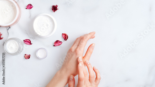 Hand skin care concept Canvas Print