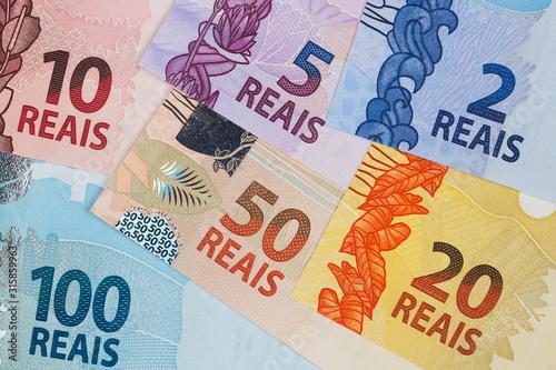 Brazilian money - Real a business background Fototapet