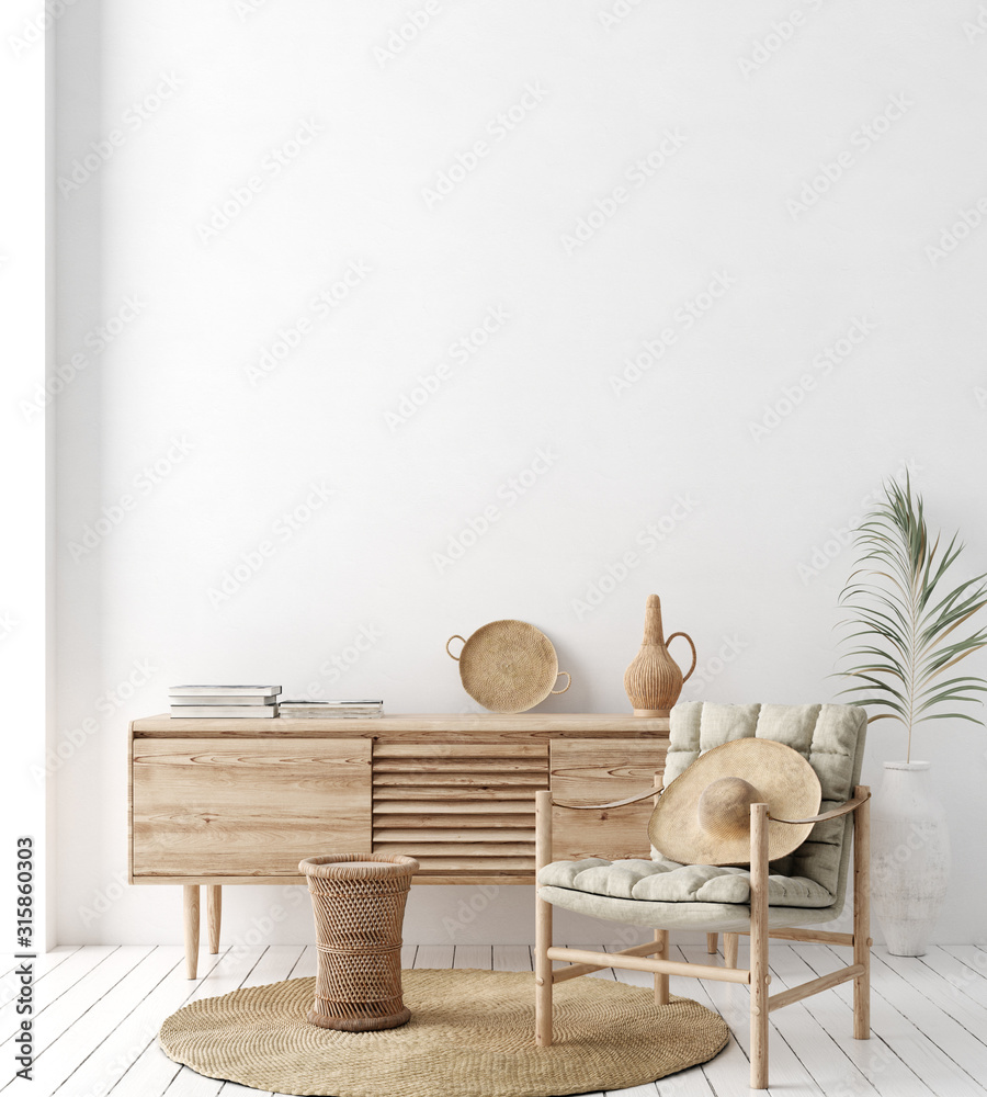 Fototapeta Wall mock up in white simple interior with wooden furniture, Scandi-Boho style, 3d render