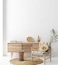 Wall Mock Up In White Simple Interior With Wooden Furniture, Scandi-Boho Style, 3d Render