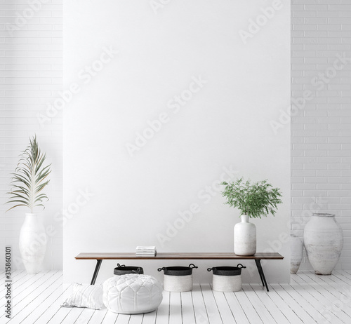 Obraz Wall mock up in white simple interior with wooden furniture, Scandi-Boho style, 3d render - fototapety do salonu
