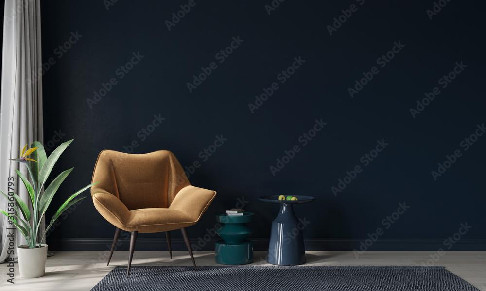 Fototapeta Mustard armchair and colored tables against a dark blue wall - obraz na płótnie