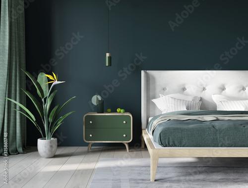 Photo Bedroom near window in dark green and light beige