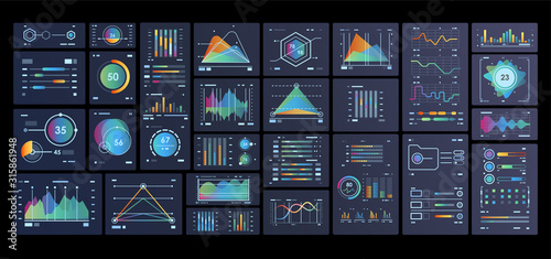 Dashboard template with big data visualization Canvas Print