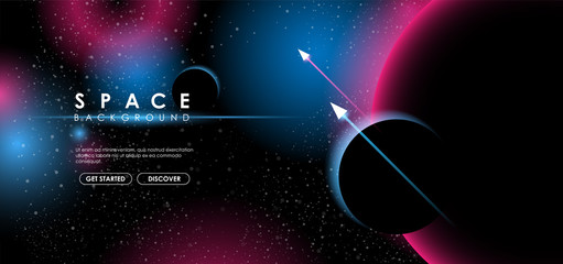 Creative space background with abstract shape and planets. Colorful space poster with text template. Vector infinite Galaxy background.