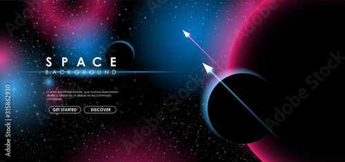 Creative space background with abstract shape and planets Canvas Print