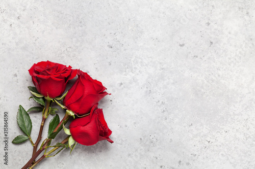 Valentines day card with rose flowers Canvas Print
