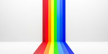 Abstract Rainbow Gradient Multi Colors Of White Scene Background With Perspective Room. Summer Multi Colors Pattern Backdrops. 3D Rendering.