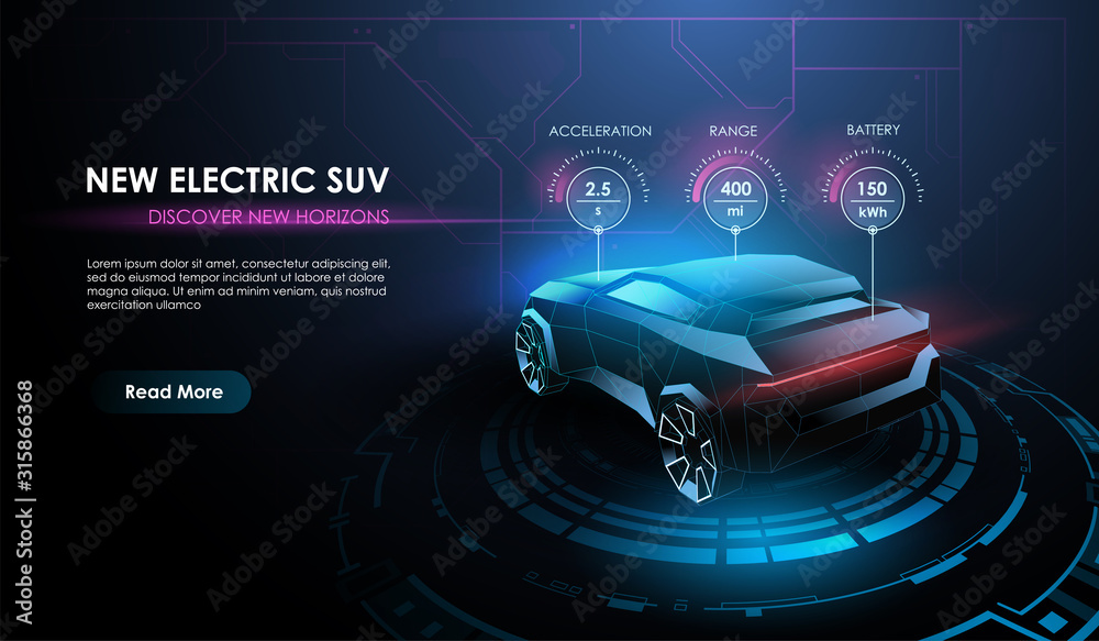 Fototapeta Futuristic automotive technology. Electric car at charging station from lines, mesh and low poly style design. Automotive template for your web, print, marketing advertising.
