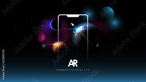 Photo Abstract creative illustration with augmented reality phone, vector illustration for landing page