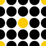 Tile vector pattern with black and yellow polka dots on white background - 315870593