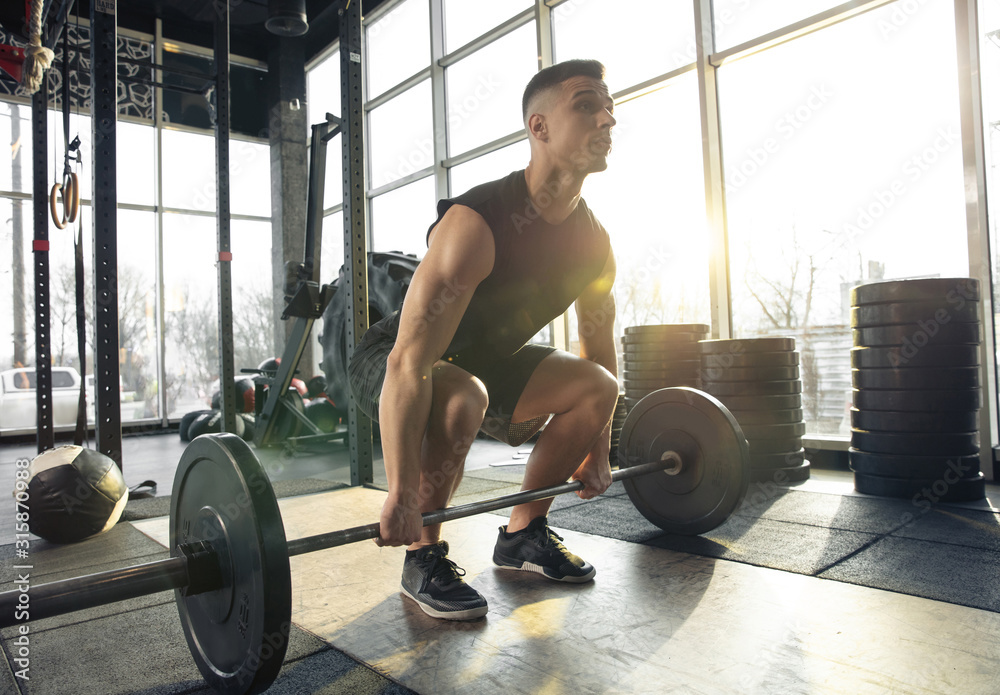 Fototapeta Professional. Young muscular caucasian athlete training in gym, doing strength exercises, practicing, work on his upper body with weights and barbell. Fitness, wellness, healthy lifestyle concept.