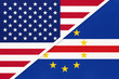 USA vs Cabo Verde national flag from textile. Relationship between two american and african countries.