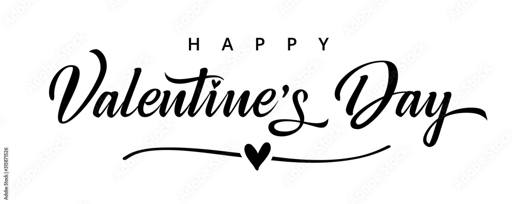 Fototapeta Valentines Day elegant black paintbrush text banner. Valentine greeting card template with calligraphy happy valentine`s day and heart in line on white background. Vector illustration
