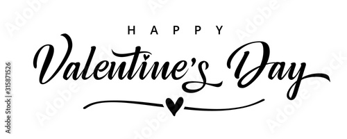 Obraz Valentines Day elegant black paintbrush text banner. Valentine greeting card template with calligraphy happy valentine`s day and heart in line on white background. Vector illustration - fototapety do salonu