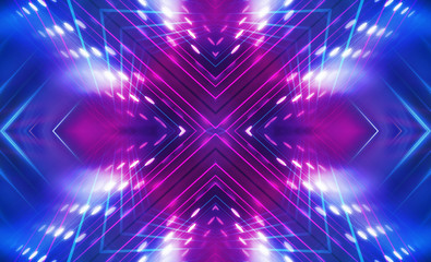 Dark abstract futuristic background. Neon lines glow. Neon lines, shapes. Multi-colored glow, blurry lights, bokeh. Empty stage background