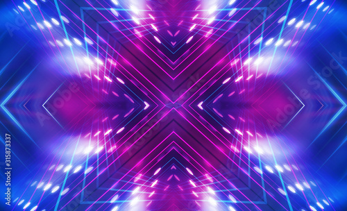 Obraz Dark abstract futuristic background. Neon lines glow. Neon lines, shapes. Multi-colored glow, blurry lights, bokeh. Empty stage background - fototapety do salonu
