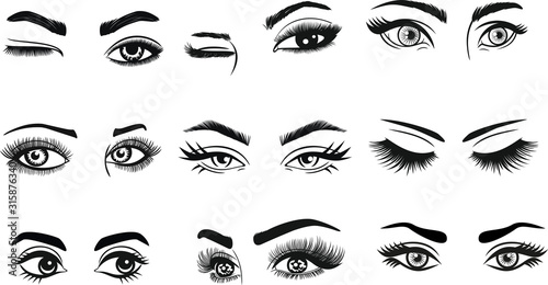 Fotografía Eyes Eyelashes Eyebrow Lashes Eye Makeup for cutting and printing