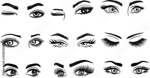Obraz na plátne Eyes Eyelashes Eyebrow Lashes Eye Makeup for cutting and printing