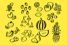 Handwritten Fruit Set For Design
