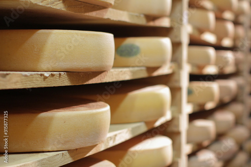 Leinwand Poster At professional French cheese maker - Comté cellar on traditional wood