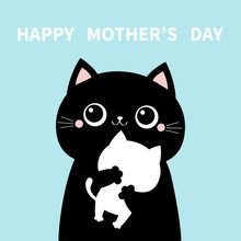 Mother Cat Holding Hugging Little Baby Kitten. Happy Mothers Day. Kittens On Hands. Kitty Hug. Funny Kawaii Animal Family. Cute Cartoon Pet Character Set. Flat Design Blue Background. Isolated.