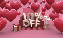 10 Ten Percent Off - Valentines Day Sale 3D Illustration.
