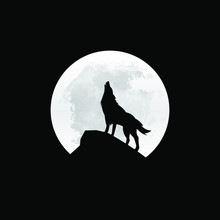 Silhouette Of The Wolf Howling At The Moon At Night. Vector Illustration