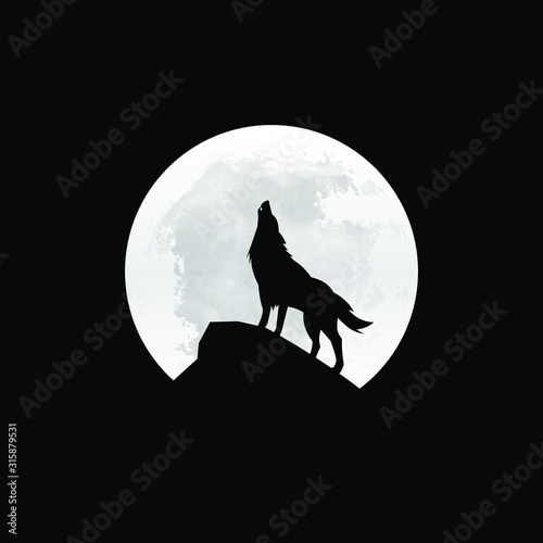 Photo Silhouette of the wolf howling at the moon at night