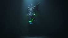 Huge Medieval Dragon With Glowing Green Eyes And Flames In A Dark Cave. Mythical Creature. Concept Art Of The Dragon Head In The Gothic Style. 3d Illustration Of The Game Location Of The Final Boss.