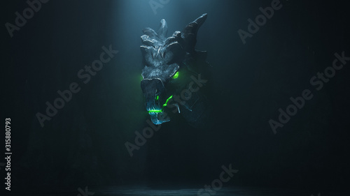 Fotografie, Obraz Huge medieval dragon with glowing green eyes and flames in a dark cave