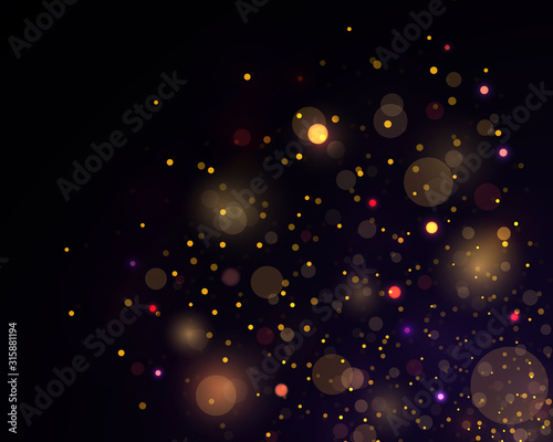 Fototapeta Light abstract glowing bokeh lights. Festive golden luminous background with colorful lights bokeh. Magic concept. Abstract background with bokeh effect. Vector festive illustration. obraz na płótnie