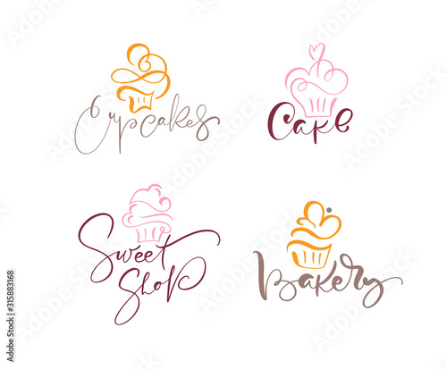 Photo Set of four illustrations of cake vector calligraphic text with logo