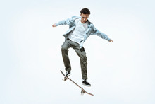 Caucasian Young Skateboarder R...