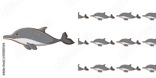Seamless background design with gray dolphin Wallpaper Mural