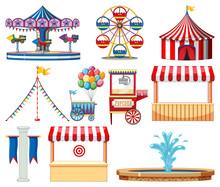 Set Of Circus Items On White B...
