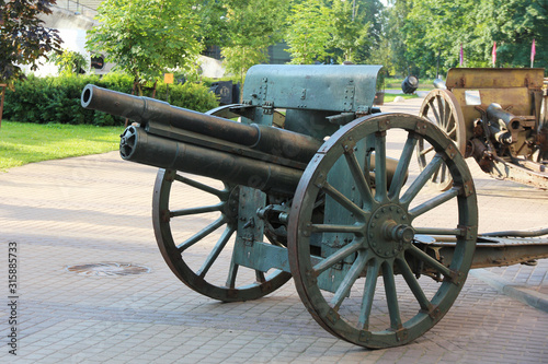 old russian artillery cannon on wheels Canvas Print