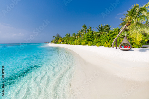 Obraz na plátně  Tropical beach scene, blue sea and palm trees and white sand, summer vacation an