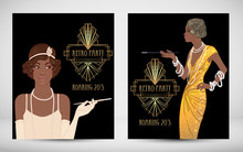 Retro Fashion. Glamour Girl Of Twenties. African American Woman. Vector Illustration. Vintage Party Invitation Design Template. Fancy Black Lady.