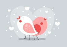 A Couple Of Birds Singing In Love. Happy Valentines Day Simple Flat Vector Illustration